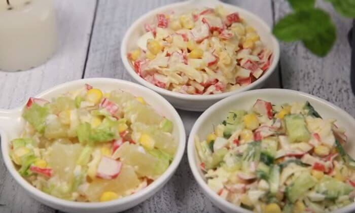 Вкусные салаты с крабовыми палочками 3 шт.
